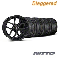 Foose Staggered Outcast Matte Black Wheel & NITTO INVO Tire Kit - 20x8.5/10 (05-14) - Foose 32839||32840||79524||79525||KIT