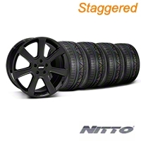 Staggered S197 Saleen Black Wheel & NITTO INVO Tire Kit - 20x9/10 (05-14 All) - American Muscle Wheels 28363||28366||79524||79525||KIT