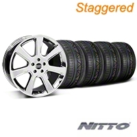 Staggered Chrome S197 Saleen Style Wheel & NITTO INVO Tire Kit - 20x9/10 (05-14 All) - AmericanMuscle Wheels KIT||28361||28364||79524||79525