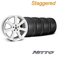 Staggered S197 Saleen Style Silver Wheel & NITTO INVO Tire Kit - 20x9/10 (05-14 All) - American Muscle Wheels 28362||28365||79524||79525||KIT