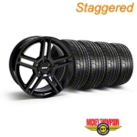 Staggered Black 2010 GT500 Style Mustang Wheel & Mickey Thompson Tire Kit - 19x8.5/10 (05-14 All) - AmericanMuscle Wheels KIT||28236||28239||79539||79540