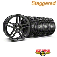 Staggered 2010 GT500 Matte Black Wheel & Mickey Thompson Tire Kit - 19x8.5/10 (05-14 All) - American Muscle Wheels 79539||79540||99270||99271||KIT