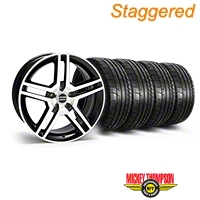 Staggered 2010 GT500 Style Black Machined Wheel & Mickey Thompson Tire Kit - 19x8.5/10 (05-14 All) - American Muscle Wheels 28238||28241||79539||79540||KIT
