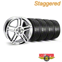 Staggered Chrome 2010 GT500 Style Mustang Wheel & Mickey Thompson Tire Kit - 19x8.5/10 (05-14 All) - AmericanMuscle Wheels KIT||28237||28240||79539||79540