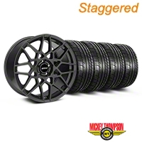 Staggered Charcoal 2013 GT500 Style Wheel & Mickey Thompson Tire Kit - 19x8.5/10 (05-14 GT, V6)