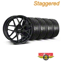 Staggered AMR Black Wheel & Mickey Thompson Tire Kit - 19x8.5/10 (05-14 All) - American Muscle Wheels 33783||33784||79539||79540||KIT