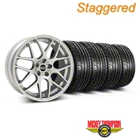 Staggered Silver AMR Style Wheel & Mickey Thompson Tire Kit - 19x8.5/10 (05-14) - AmericanMuscle Wheels KIT||33803||33806||79539||79540