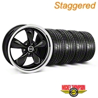 Staggered Black Bullitt Mustang Wheel & Mickey Thompson Tire Kit - 19x8.5/10 (05-14 GT, V6) - AmericanMuscle Wheels KIT||28247||28248||79539||79540