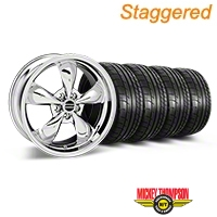 Staggered Chrome Deep Dish Bullitt Mustang Wheel & Mickey Thompson Tire Kit - 19x8.5/10 (05-14 GT, V6) - AmericanMuscle Wheels KIT||28249||28250||79539||79540