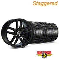 Staggered Boss Laguna Seca Black Wheel & Mickey Thompson Tire Kit - 19x9/10 (05-14 All) - American Muscle Wheels 79539||79540||99222||99223||KIT