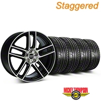 Staggered Black Machined Boss Laguna Style Wheel & Mickey Thompson Tire Kit - 19x9/10 (05-14 All) - AmericanMuscle Wheels KIT||79539||79540||99224||99225