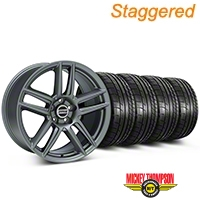 Staggered Charcoal Boss Laguna Style Wheel & Mickey Thompson Tire Kit - 19x9/10 (05-14 All) - AmericanMuscle Wheels KIT||79539||79540||99220||99221