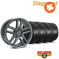 Staggered Boss Laguna Seca Charcoal Wheel & Mickey Thompson Tire Kit - 19x9/10 (05-14 All) - American Muscle Wheels KIT