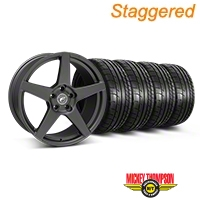 Forgestar Staggered CF5 Monoblock Matte Black Wheel & Mickey Thompson Tire Kit - 19x9/10 (05-14 All) - Forgestar 29600||29601||79539||79540||KIT