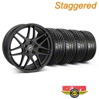 Forgestar Staggered F14 Monoblock Matte Black Wheel & Mickey Thompson Tire Kit - 19x9/10 (05-14 All) - Forgestar 29604||29605||79539||79540||KIT