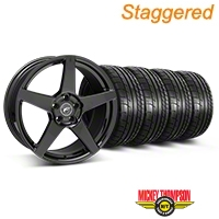 Forgestar Staggered CF5 Monoblock Gloss Black Wheel & Mickey Thompson Tire Kit - 19x9/10 (05-14 All) - Forgestar 29616||29617||79539||79540||KIT