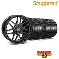 Forgestar Staggered F14 Piano Black Wheel & Mickey Thompson Tire Kit - 19x9/10 (05-14 All) - Forgestar 29620||29621||79539||79540||KIT