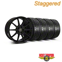 Forgestar Staggered CF10 Monoblock Piano Black Wheel & Mickey Thompson Tire Kit - 19x9/10 (05-14 All) - Forgestar 29844||29845||79539||79540||KIT