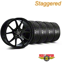 Forgestar Staggered CF5V Monoblock Piano Black Wheel & Mickey Thompson Tire Kit - 19x9/10 (05-14 All) - Forgestar 29855||79540||mb1||79539||KIT||29854