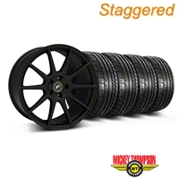 Forgestar Staggered CF10 Monoblock Textured Black Wheel & Mickey Thompson Tire Kit - 19x9/10 (05-14 All) - Forgestar 29847||29849||79539||79540||KIT