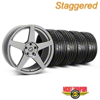 Forgestar Staggered CF5 Monoblock Gunmetal Wheel & Mickey Thompson Tire Kit - 19x9/10 (05-14 All) - Forgestar 29608||29609||79539||79540||KIT