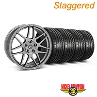 Forgestar Staggered F14 Monoblock Gunmetal Wheel & Mickey Thompson Tire Kit - 19x9/10 (05-14 All) - Forgestar 29612||29613||79539||79540||KIT
