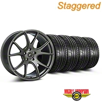 Staggered Gunmetal Forgestar CF5V Monoblock Wheel & Mickey Thompson Tire Kit - 19x9/10 (05-14 All)