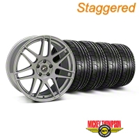 Forgestar Staggered F14 Monoblock Silver Wheel & Mickey Thompson Tire Kit - 19x9/10 (05-14 All) - Forgestar 29850||29851||79539||79540||KIT