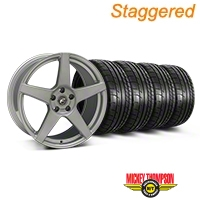 Staggered Silver Forgestar CF5 Monoblock Wheel & Mickey Thompson Tire Kit - 19x9/10 (05-14 All) - Forgestar KIT::29852||29853||79539||79540