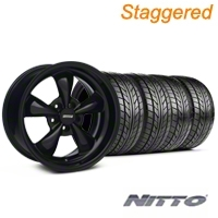 Staggered Solid Black Bullitt Wheel & NITTO Tire Kit 18x9/10 (99-04 All) - AmericanMuscle Wheels KIT||28481||28482||76013||76003