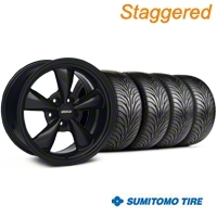 Staggered Bullitt Solid Black Wheel & Sumitomo Tire Kit - 18x9/10 (99-04 All) - American Muscle Wheels 28481||28482||63006||63016||KIT