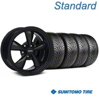 Solid Black Bullitt Wheel & Sumitomo Tire Kit 18x8 (94-98 All) - AmericanMuscle Wheels KIT||28483||63029