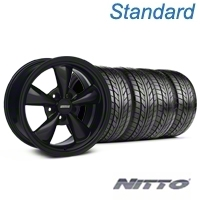 Bullit Solid Black Wheel & NITTO Tire Kit - 18x9 (94-98 All) - American Muscle Wheels 28481||76002||KIT