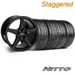 Staggered Saleen Black Wheel & NITTO Tire Kit - 17x9/10.5 (94-98 All) - American Muscle Wheels 28384  28385  76012  76014  KIT