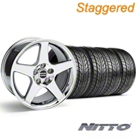Staggered Chrome Deep Dish 2003 Style Cobra Wheel & NITTO Tire Kit - 17x9/10.5 (99-04 All) - AmericanMuscle Wheels KIT||10074||10075||76000||76014