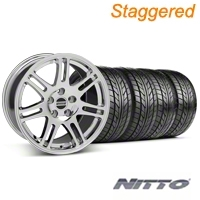 Staggered Chrome 10th Anniversary Style Wheel & NITTO Tire Kit - 17x9/10.5 (99-04 All) - AmericanMuscle Wheels KIT||28340||28343||76000||76014