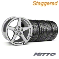 Staggered Chrome Saleen Style Wheel & NITTO Tire Kit - 17x9/10.5 (99-04 All) - AmericanMuscle Wheels KIT||28070||28386||76000||76014