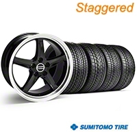 Staggered Black Deep Dish 2003 Style Cobra Wheel & Sumitomo Tire Kit - 17x9/10.5 (99-04 All)