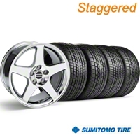 Staggered Chrome Deep Dish 2003 Style Cobra Wheel & Sumitomo Tire Kit - 17x9/10.5 (99-04 All) - AmericanMuscle Wheels KIT||10074||10075||63000||63003