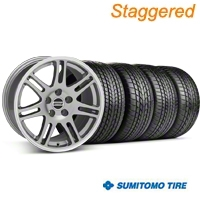 Staggered Anthracite 10th Anniversary Style Wheel & Sumitomo Tire Kit - 17x9/10.5 (99-04 All) - AmericanMuscle Wheels KIT||28341||28344||63000||63003