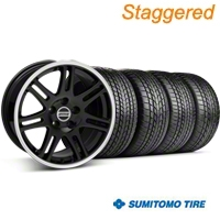 Staggered 10th Anniversary Cobra Black Wheel & Sumitomo Tire Kit - 17x9/10.5 (99-04 All) - American Muscle Wheels 28342||28345||63000||63003||KIT
