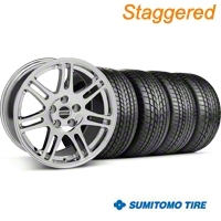 Staggered Chrome 10th Anniversary Style Wheel & Sumitomo Tire Kit - 17x9/10.5 (99-04 All) - AmericanMuscle Wheels KIT||28340||28343||63000||63003