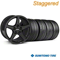 Staggered Black Saleen Style Wheel & Sumitomo Tire Kit - 17x9/10.5 (99-04 All) - AmericanMuscle Wheels KIT||28384||28385||3000||63003