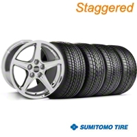 Staggered Chrome Saleen Style Wheel & Sumitomo Tire Kit - 17x9/10.5 (99-04 All) - AmericanMuscle Wheels KIT||28070||28386||63000||63003