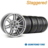 Staggered Anthracite 10th Anniversary Style Wheel & Sumitomo Tire Kit - 18x9/10 (99-04 All) - AmericanMuscle Wheels KIT||28347||28350||63006||63016
