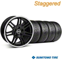 Staggered Black 10th Anniversary Style Wheel & Sumitomo Tire Kit - 18x9/10 (99-04 All) - AmericanMuscle Wheels KIT||28348||28351||63006||63016