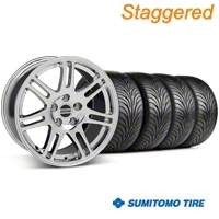 Staggered Chrome 10th Anniversary Style Wheel & Sumitomo Tire Kit - 18x9/10 (99-04 All) - AmericanMuscle Wheels KIT||28346||28349||63006||63016