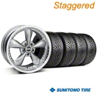 Staggered Bullitt Motorsport Anthracite Wheel & Sumitomo Tire Kit - 18x9/10 (99-04 All) - American Muscle Wheels 10117||10119||63006||63016||KIT