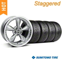 Staggered Anthracite Deep Dish Bullitt Mustang Wheel & Sumitomo Tire Kit - 18x9/10 (99-04 All) - AmericanMuscle Wheels KIT||28322||28323||63006||63016