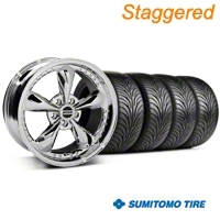 Staggered Chrome Bullitt Motorsport Wheel & Sumitomo Tire Kit - 18x9/10 (99-04 All)